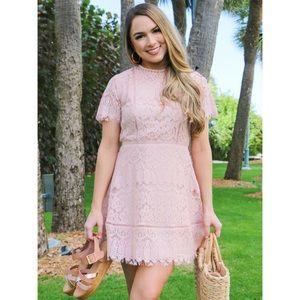 🆕 Blush Mock Neck Empire Waist Lace Mini Dress